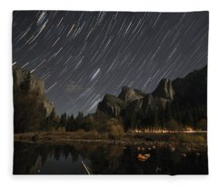 Star Trails Over Yosemite Fleece Blanket