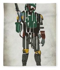 Star Wars Inspired Boba Fett Typography Artwork Fleece Blanket