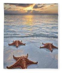 Starfish Beach Sunset Fleece Blanket