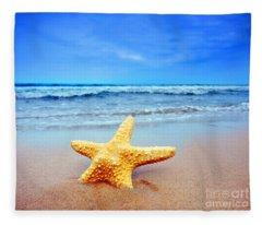 Starfish On A Beach   Fleece Blanket