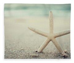 Starfish On Beach Vintage Seaside New Jersey  Fleece Blanket