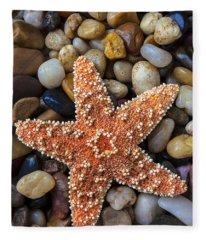 Starfish On Rocks Fleece Blanket