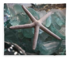 Starfish With Sea Glass Fleece Blanket