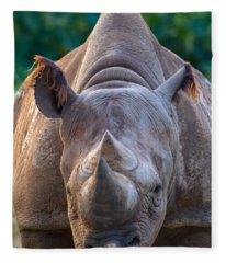 Staring Down Rhino Fleece Blanket