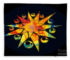 Staring Into Eternity Abstract Stars And Circles Fleece Blanket