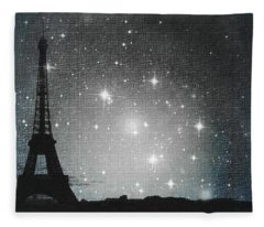 Starry Night In Paris - Eiffel Tower Photography  Fleece Blanket