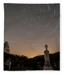 Stars Trails Over Cemetery Fleece Blanket