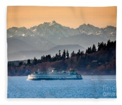 State Ferry And The Olympics Fleece Blanket