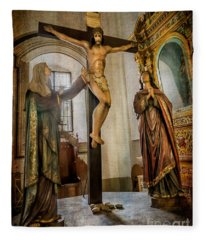 Statue Of Jesus Fleece Blanket