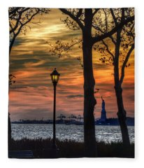 Statue Of Liberty From Battery Park Fleece Blanket