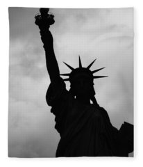 Statue Of Liberty Silhouette Fleece Blanket