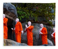 Statues Of The Buddhist Monks At Golden Temple Fleece Blanket