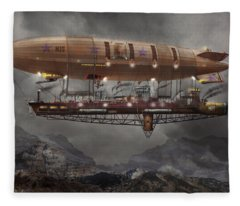 Steampunk - Blimp - Airship Maximus  Fleece Blanket