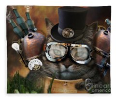 Steampunk Cat Fleece Blanket