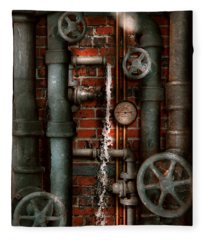 Steampunk - Plumbing - Pipes And Valves Fleece Blanket