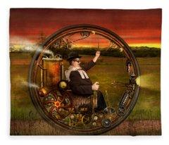 Steampunk - The Gentleman's Monowheel Fleece Blanket