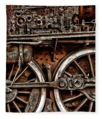 Steampunk- Wheels Locomotive Fleece Blanket