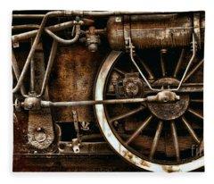 Steampunk- Wheels Of Vintage Steam Train Fleece Blanket