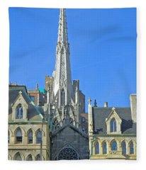 Steeple Of Grace Episcopal Church Nyc Fleece Blanket