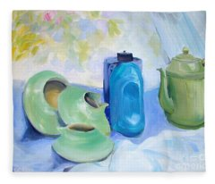 Oil Painting Still Life Study Of Blue And Green Pottery Fleece Blanket