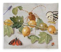 Still Life Of Branch Of Gooseberries Fleece Blanket