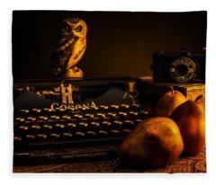 Still Life - Pears And Typewriter Fleece Blanket