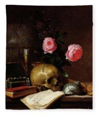 Still Life With A Skull Oil On Canvas Fleece Blanket
