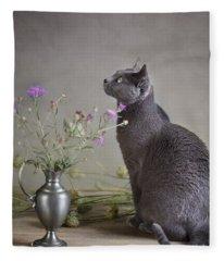 Still Life With Cat Fleece Blanket