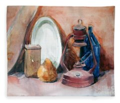 Watercolor Still Life With Rustic, Old Miners Lamp Fleece Blanket