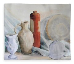 Watercolor Still Life With Pottery And Stone Fleece Blanket