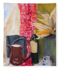 Oil Painting Still Life With Red Cloth And Pottery Fleece Blanket