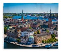 Stockholm From Above Fleece Blanket