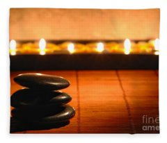 Stone Cairn And Candles For Quiet Meditation Fleece Blanket