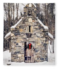 Fleece Blanket featuring the photograph Stone Chapel In The Woods Trapp Family Lodge Stowe Vermont by Edward Fielding