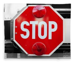Stop Bw Red Sign Fleece Blanket