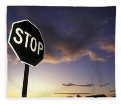 Stop Sign In Sunset Sky In Utah Fleece Blanket