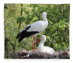 Storks Nesting Fleece Blanket