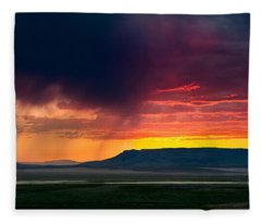 Storm Clouds Over Square Butte Fleece Blanket