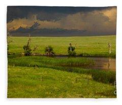 Storm Crossing Prairie 1 Fleece Blanket