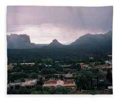 Storm, Desert, Mesas, Arizona Fleece Blanket