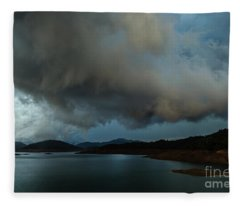 Storm Over Lake Shasta Fleece Blanket