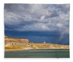 Storm Over Linwood Bay Fleece Blanket