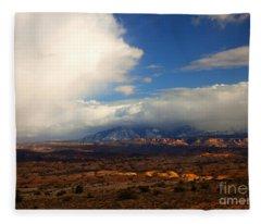 Storm Over The La Sals Fleece Blanket