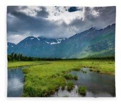 Storm Over The Mountains Fleece Blanket