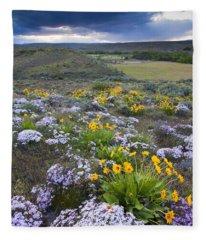 Storm Over Wildflowers Fleece Blanket