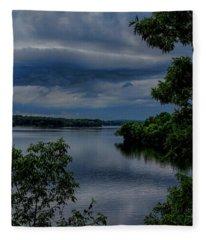 Storm Rolling Over Lake Wausau Fleece Blanket