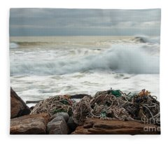 Storm Surf At Rye Beach Fleece Blanket