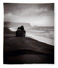 Stormy Day At Dyrholaey Fleece Blanket