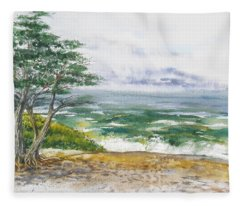 Stormy Morning At Carmel By The Sea California Fleece Blanket