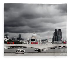 Stormy Skies Over London Fleece Blanket